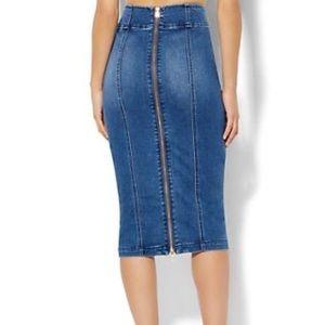 Soho 😍Full Zipper back denim jean pencil skirt S